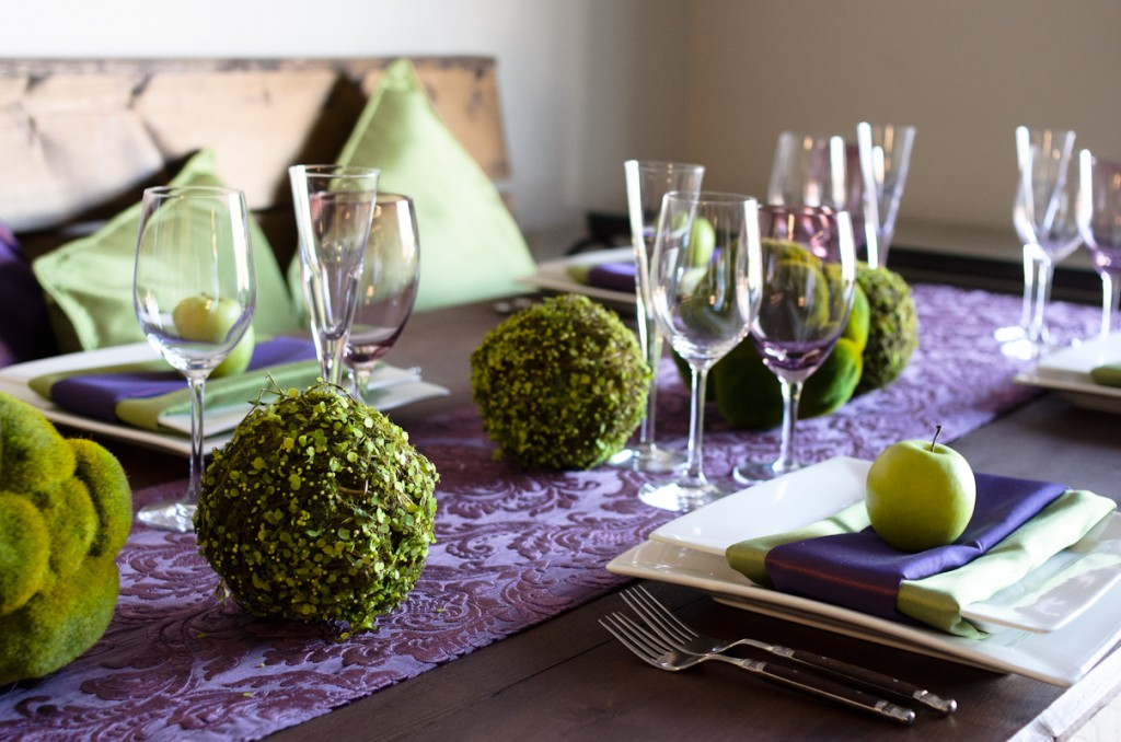 Classic Party Rentals, Beyond Blu Bungalow, purple apple decor